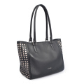 Large Capacity Black Shoulder Leather Shopping Handbags