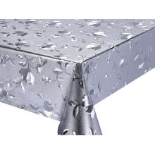 Beautiful Silver Gold Fabric Backing Tablecloth