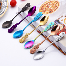 Cute Stirring Spoon Coffee Spoon Rose Colorful Stainless Steel Ice Cream Tea Spoons Bar Tools Dining Kitchen Gadgets Accessories