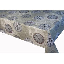 White Printed Tablecloth with Non-woven back