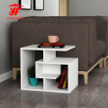 New White Sofa Side Coffee Table with Shelf