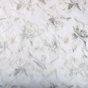 I-White Floral Decor Jacquard