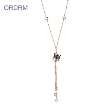 Long Rose Gold Roman Numeral Necklace For Girls