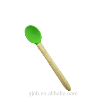 food grade wooden handle silicone baby spoons