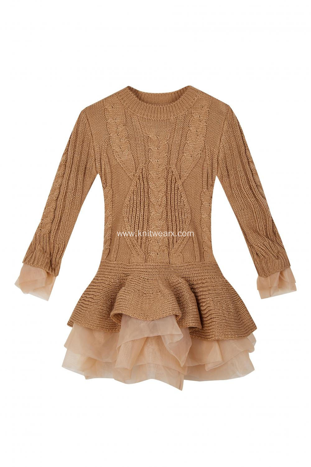 Girl's Knitted Crepe Cuff and Hem Fishtail Dress
