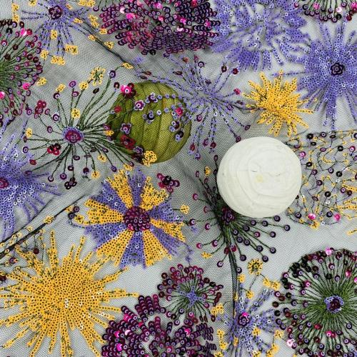 Blooming Fireworks  Flowery Sequins Embroidery Fabric