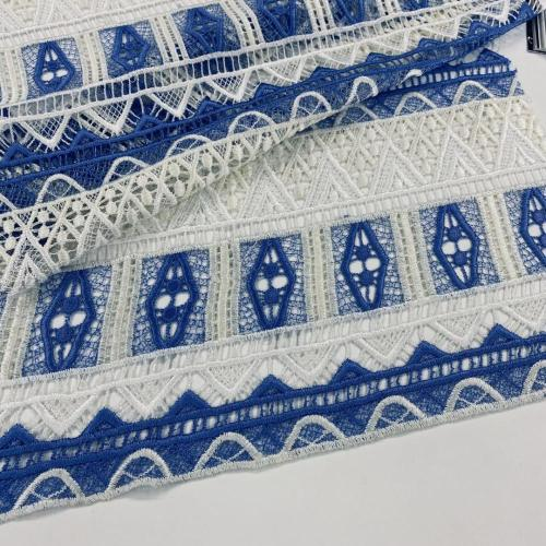 Baby Blue White Polyester Chemical Lace Embroidery Fabric