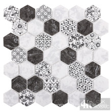 Black Mixed Marble With Abstract Pattern Inkjet Mosaic