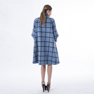 Blue checked cashmere coat with stand collar