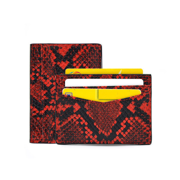 Python Snake Skin Thin Leather Credit Card Holder