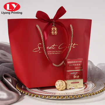 Luxury Magenta/Red Wedding Gift Bag With Ribbon
