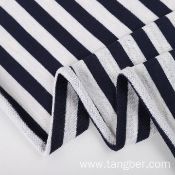 Black White Stripe Hoodie French Terry Fabric