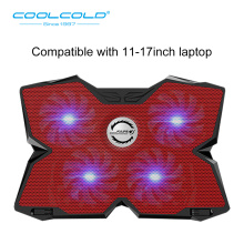 COOLCOLD Heavy Duty Laptop Cooling Pad Gaming Notebook Cooler Stand With Four USB Powered Fan For 11'' 12'' 15.6'' 17'' Notebook