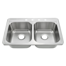 Double Bowl  Above Counter Kitchen Sink