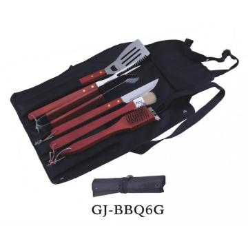 Stainless Steel BBQ Tools with Wood Handles