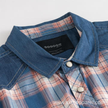 Men's Denim Patchwork Plaid Short Sleeve Shirt