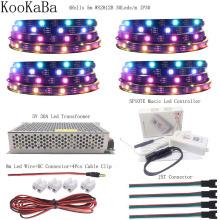 WS2812B WS2812 RGB Led Strip Light Individually Addressable IC SP107E Bluetooth Music ControIIer DC5V Transformer Power SuppIy