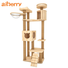 Custom Luxury Stylish Wooden Cat Tree House