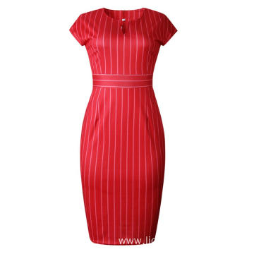 Women Stripe Dress Summer Business Short Sleeve Dress