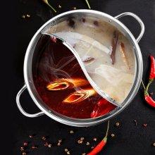 30cm Stainless Steel Hot Pot Induction Cooker Gas Stove Compatible Pot Home Kitchen Cookware Soup Cooking Pot Mandarin Duck Pot