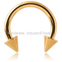 Gold PVD Coated  Circular Barbell with Cones