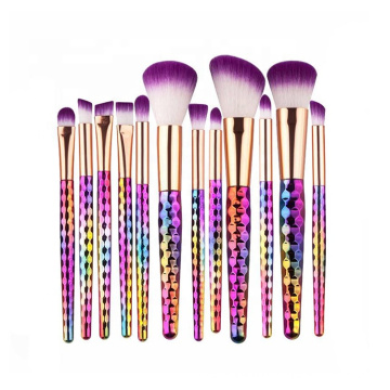 12pcs Regenbogen bunte Bling prismatische Make-up Pinsel Kit
