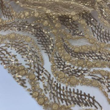 Bronze 3MM Sequin Cord Embroidery Fabric
