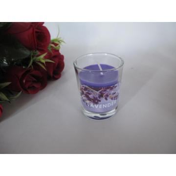 Long Burning Lavender Scented Glass Candle