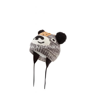Boy's Girl's Knitted Bear Jacquard Pompoms Beanie Cap