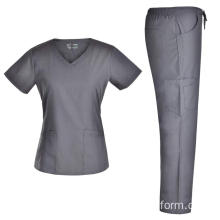 Nursing Scrubs Set V Neck Top CargoPants Doctor Medical Uniforms