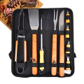 case with yellow wooden handle bbq tool set
