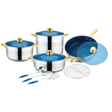 12 Pcs Stainless Steel Cookware blue glass lid