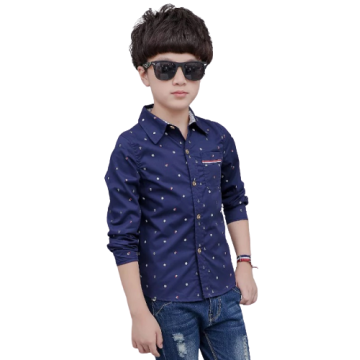 Boys Spring Autumn Stylish Pattern Cotton Long-sleeved Shirts