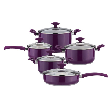 Purple color cookware set pot and saucepan set