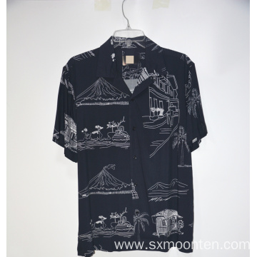 Cotton Casual Graphic Print Shirt
