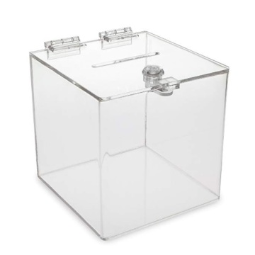 Clear Acrylic Cube Donation Box With Lock