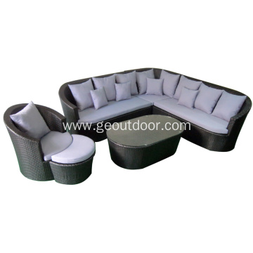 Leisure ways rattan sofa with aluminum base