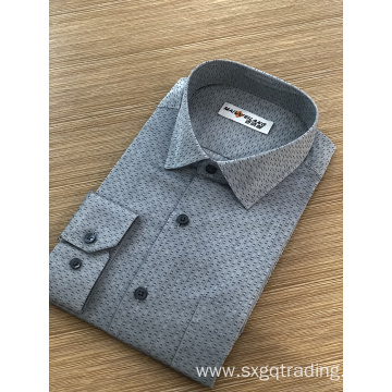 Male formal stand-up collar long sleeve jacquard shirt