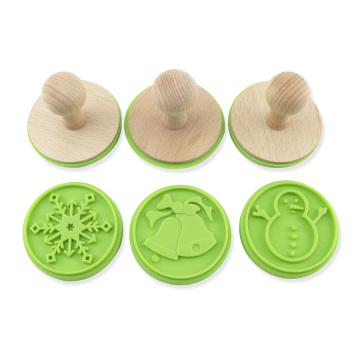 3d christmas wood handle silicone cookie stamp