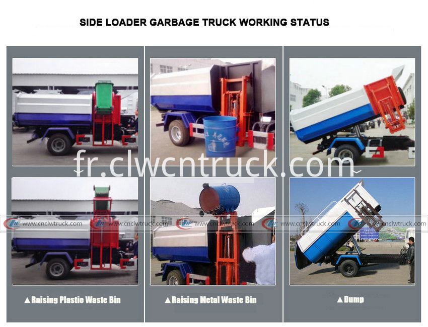 side loader garbage truck working status