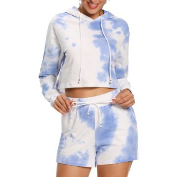 Printing Crop Top And Shorts Set