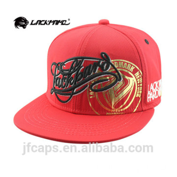 embroidery and printing red cotton snapback hiphop cap