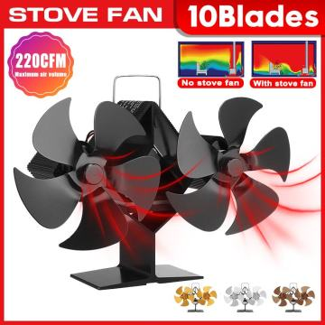 Dual Head Fireplace Fan 10 Blades Heat Powered Stove Fan Log Wood Burner Eco Friendly Quiet Fan Home Efficient Heat Distribution