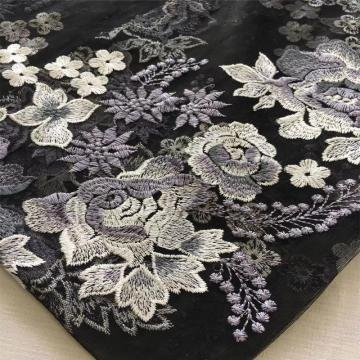 Grey Big Flower Flat Embroidery Fabric