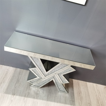 crystal mirrored glass console table
