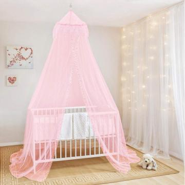 Girls Princess Mosquito Nets Silver Sequined Canopy