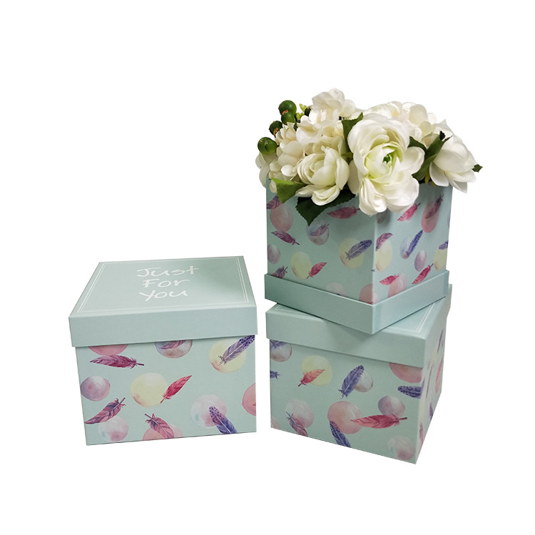 Square flower hat box paper