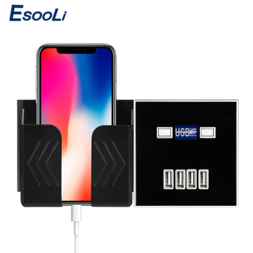 Esooli Black 4-PORT USB Port 4A Wall Charger Adapter EU Plug Socket Power Outlet Panel Electric Wall Charger Adapter Charging