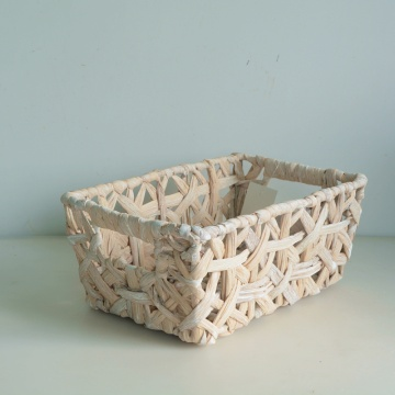 Square gray and white decorated rattan woven basket