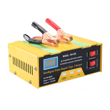 Professional Digital Display Battery Charger 12V/24V Intelligent Pulse Repair Type Charger with for Car Cell Motorcycle Battery